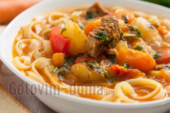 Суп лагман из говядины рецепт с пошагово