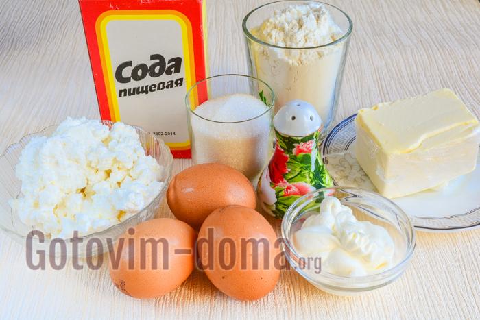 Ингредиенты для приготовления творожных кексов на сметане