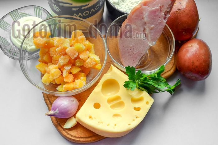 Ингредиенты для приготовления закуски в корзинках