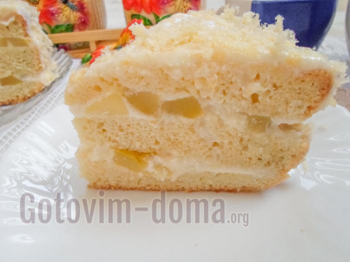 бисквитный торт с ананасами рецепт