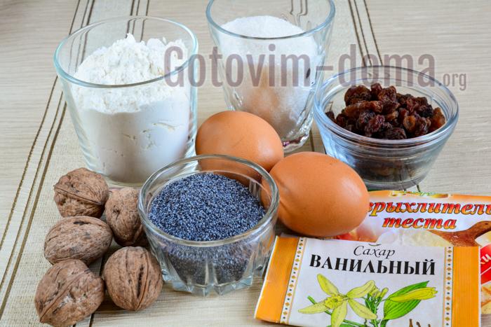 Ингредиенты для приготовления кексов с маком и изюмом