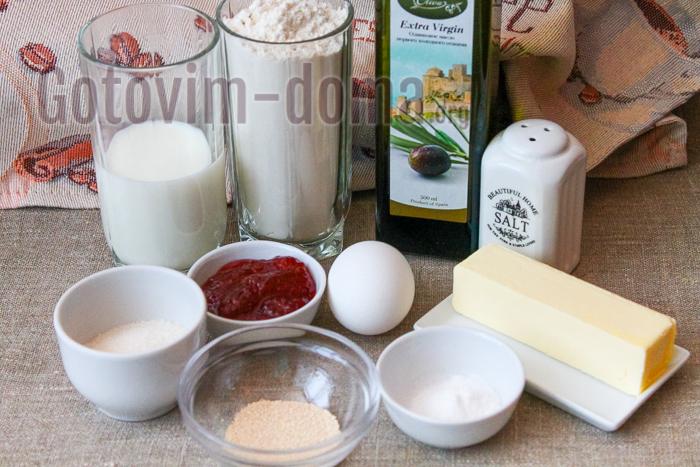 Ингредиенты для приготовления булочек Ensaimadas