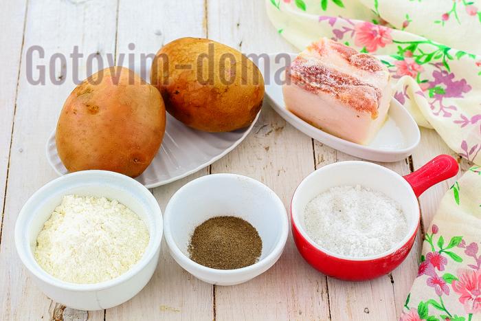 Ингредиенты для приготовления запеченной картошки с салом