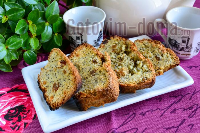 Вкусный кекс с изюмом, орехами и маком