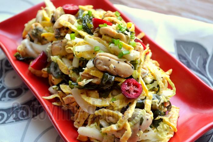 салат с мидиями и капустой рецепт с фото