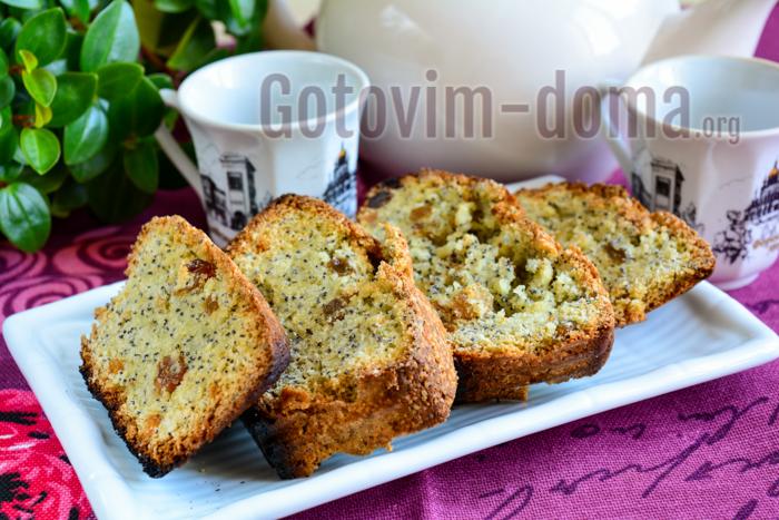 Рецепт простого кекса с изюмом и маком