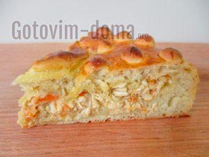 Домашний дрожжевой пирог с курицей и яйцом в духовке