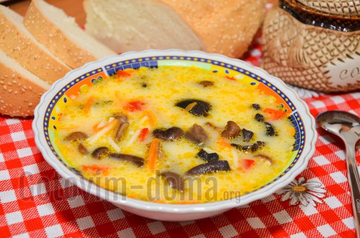 Сливочный суп с грибами и с плавленным сыром рецепт