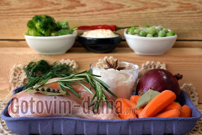 Курица в сливочном соусе с овощами ингредиенты