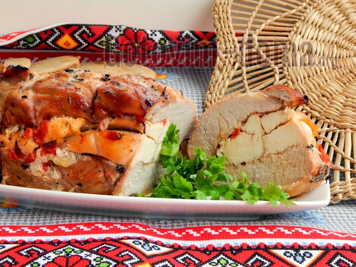 рулет из свинины с курицей рецепт