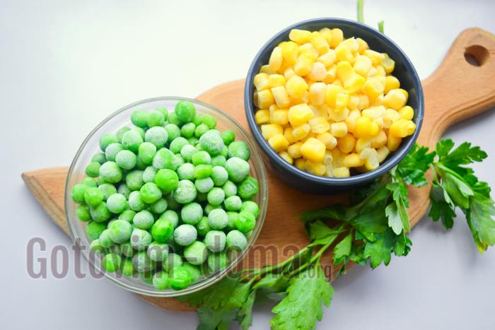 кукуруза и горошек для салата