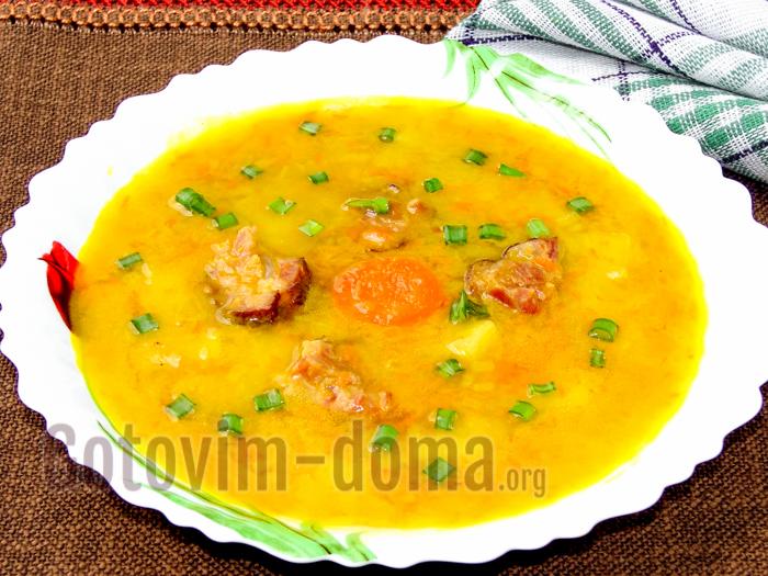 Суп-пюре гороховый с копченостями, пошаговый рецепт