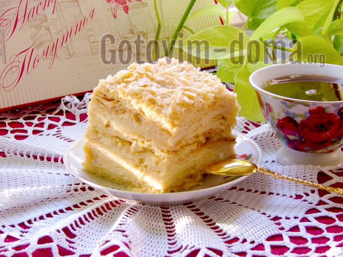 Торт наполеон, классический рецепт с заварным кремом
