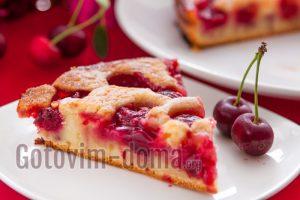 Заливной пирог с вишней и сметаной рецепт с фото