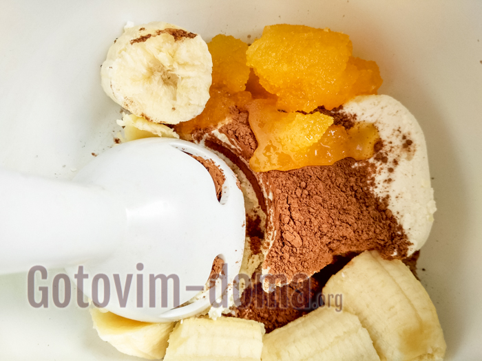 банан, мед, творог, какао