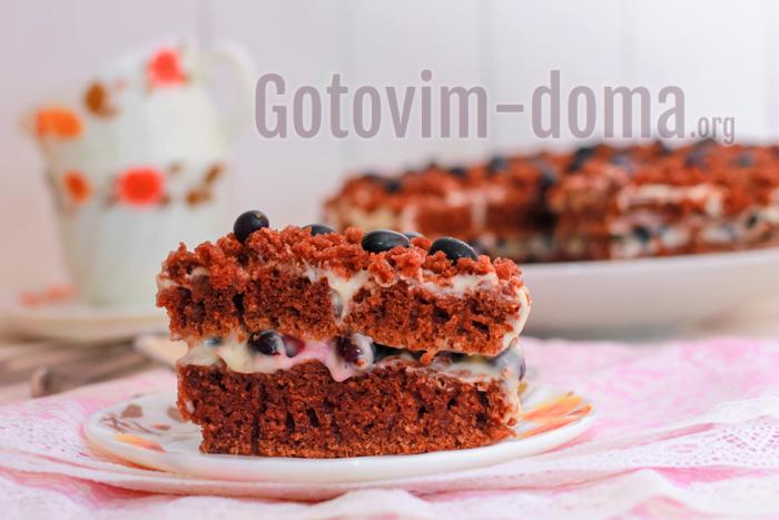 вкусный торт с бисквитом и сметанным кремом