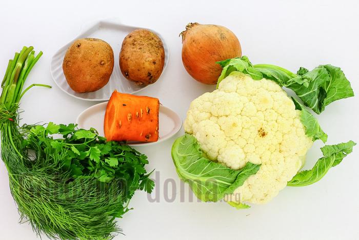 домашний Суп с цветной капустой и картошкой ингредиенты