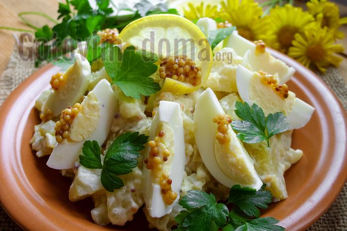 немецкий салат из картофеля и соленых огурцов