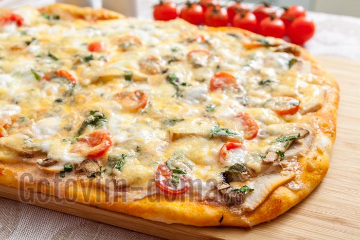 вкусная домашняя пицца с курицей и грибами