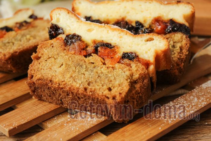 творожный кекс с курагой и черносливом, пошаговый рецепт