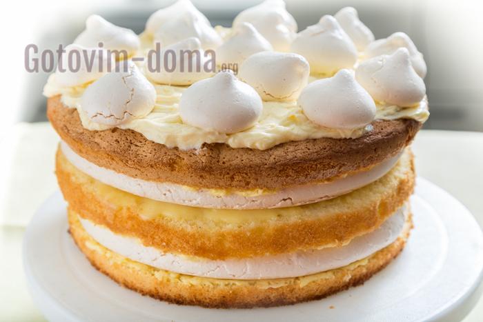 готовим дома простой торт с безе и бисквитом