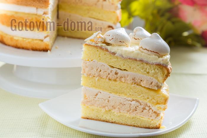 бисквитный торт с безе, рецепт с фото