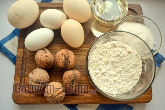 ингредиенты для орехового бисквита