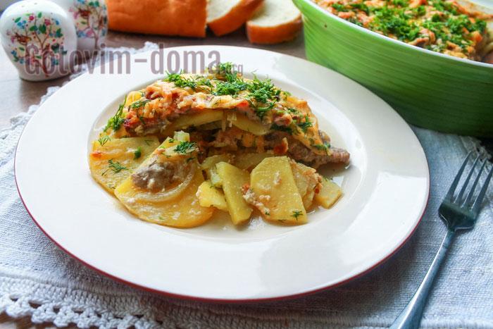 мясо по-французски с грибами картофелем и луком