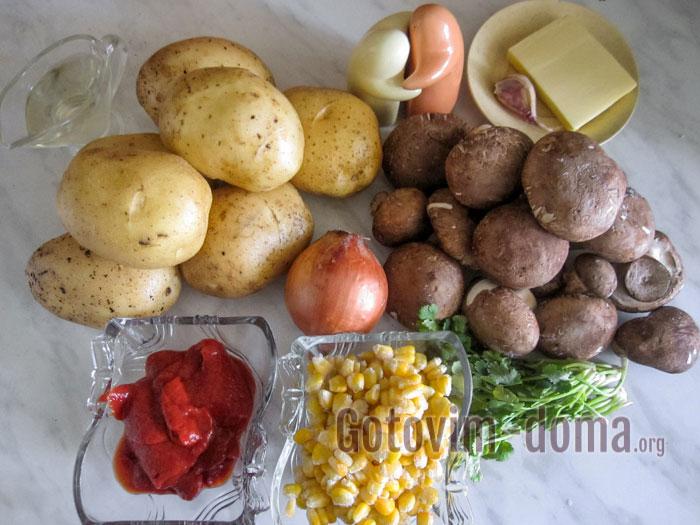 ингредиенты для фаршированного картофеля в духовке