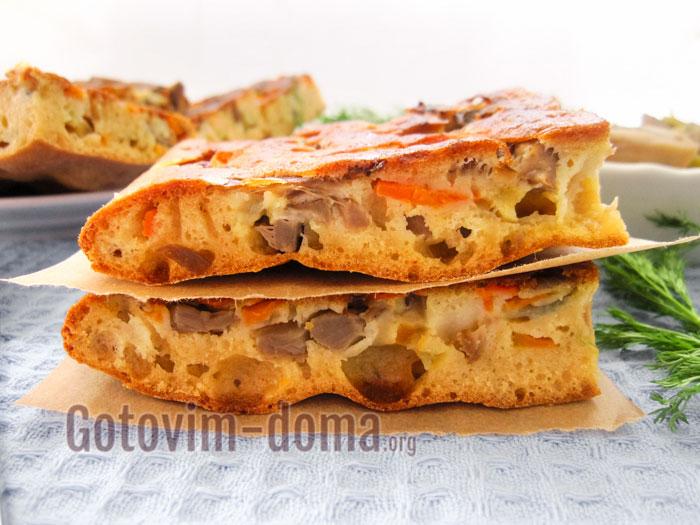 наливной пирог с грибами рецепт с фото