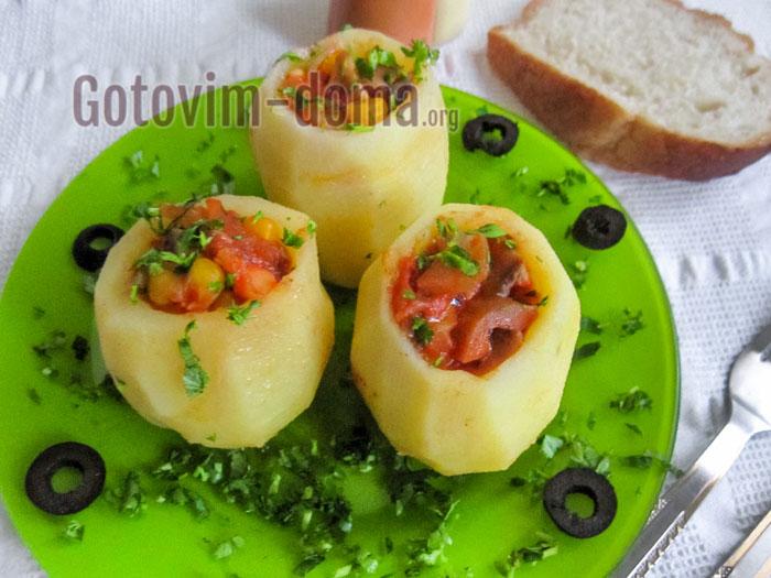 картофель в духовке фаршированный рецепт с фото