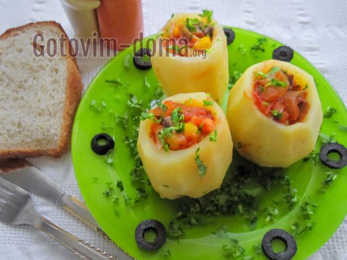 картофель фаршированный грибами рецепт с фото пошаговый