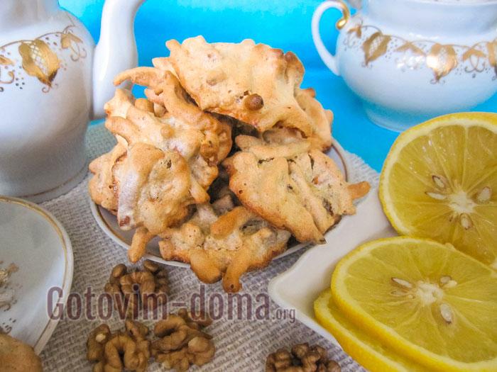 вкусное печенье ласточкино гнездо с орехами