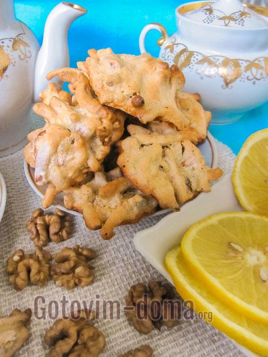 печенье ласточкино гнездо с грецкими орехами пошагово с фото