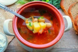 томатный суп с фасолью рецепт с фото