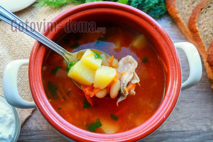 томатный суп с фасолью быстро и вкусно