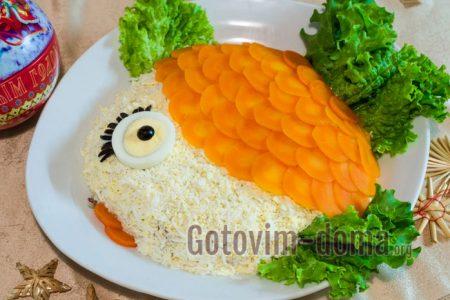 вкусный рыбный салат в виде рыбки пошагово с фото