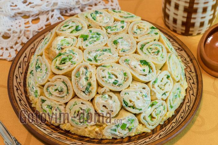 салат из блинчиков кружевной рецепт с фото