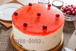 Торт с желе сверху и суфле