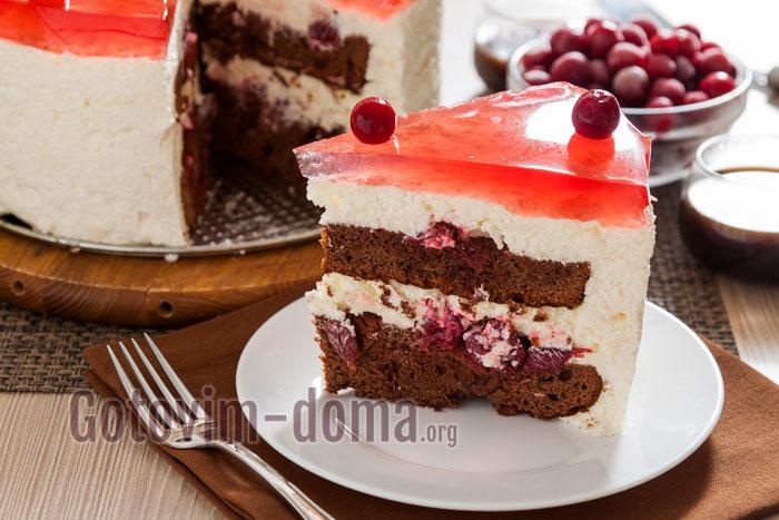 готовим дома торт с вишневым желе