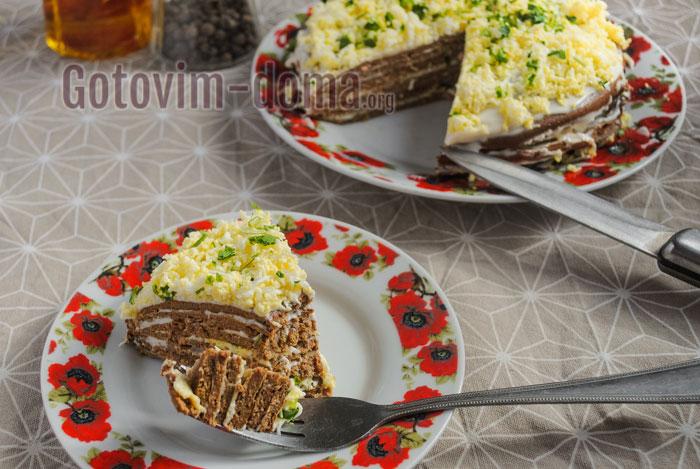 вкусный печёночный торт без майонеза