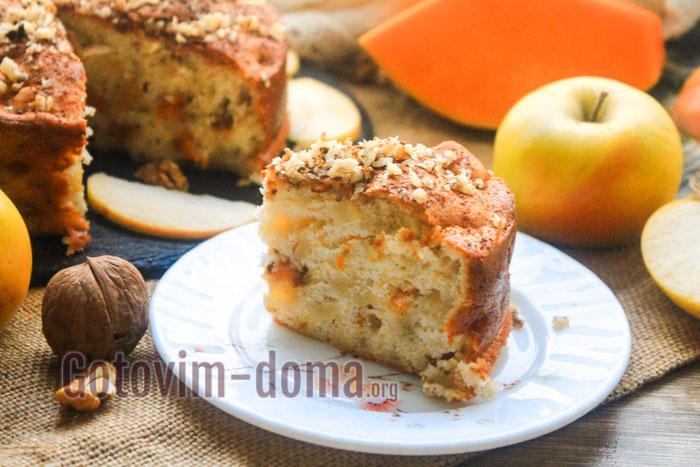 Шарлотка с яблоками и тыквой в духовке