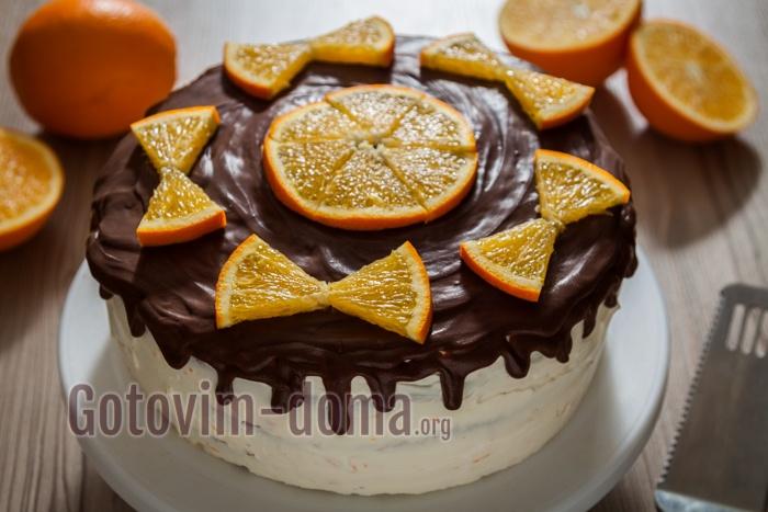 Бисквитный торт с сырным кремом и апельсинами, рецепт с фото.