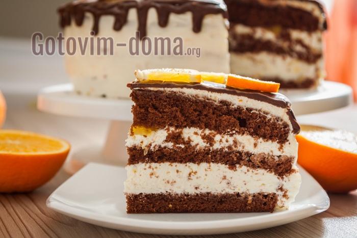 Шоколадный тортик с апельсинами.