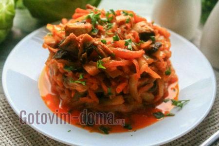 капуста тушеная с грибами рецепты очень вкусно