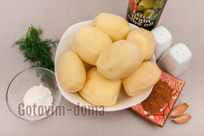 Ингредиенты для приготовления картофеля по деревенски