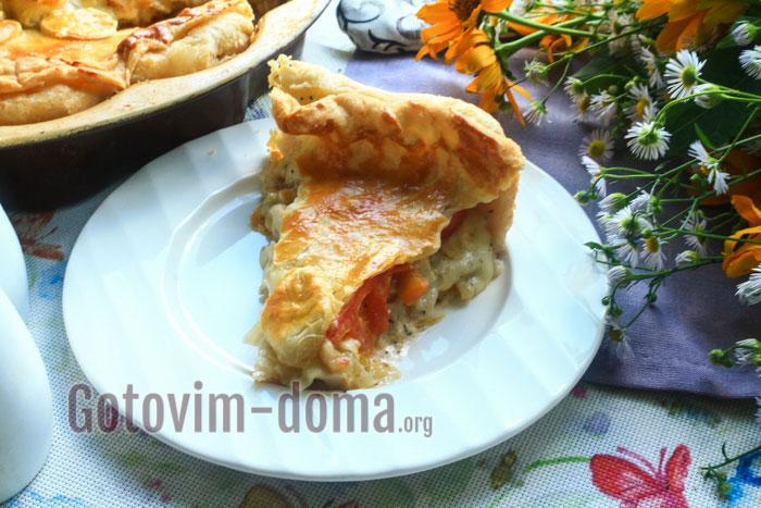 пирог с курицей и помидорами в духовке