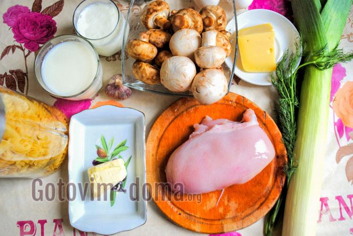 ингредиенты для пасты с курицей и грибами