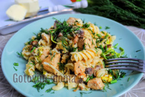 паста с курицей и грибами в мультиварке рецепт с фото