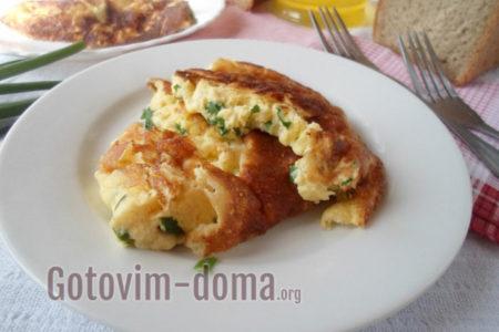 Омлет с зеленью рецепт на сковороде